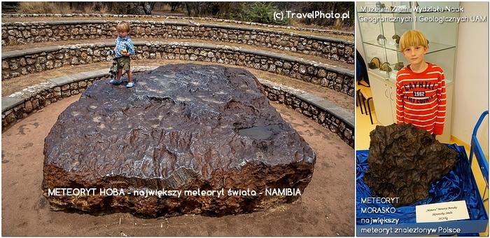 Staś na największym meteorycie świata i obok największego znalezionego w Polsce
